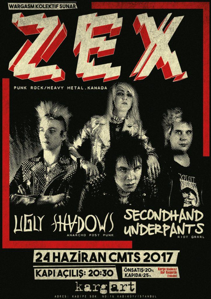 ZEX + Ugly Shadows + Secondhand Underpants, 24 Haziran Cumartesi, KargART