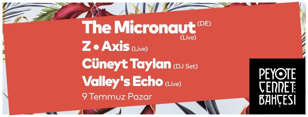 Cennet Sundate: The Micronaut + Z・Axis + Cüneyt Taylan + Valley's Echo, 9 Temmuz Pazar, Peyote Cennet Bahçesi