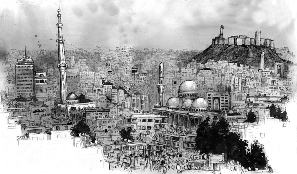 "Molly Crabapple & Marwan Hisham ""Syria in Ink"", 17 Haziran'a kadar, Bant Mag. Havuz / Bina"